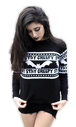 Too Fast Halloween Stay Creepy Knitted Ugly Christmas Sweater Bats Cult Adult Goth SM-XXL]()
