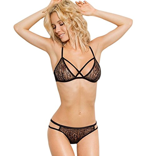 Women Lingerie Set,Napoo Chest Criss Cross Sheer See Through Lace Floral Halter Corset Push Up Bra + Thong Pants Set