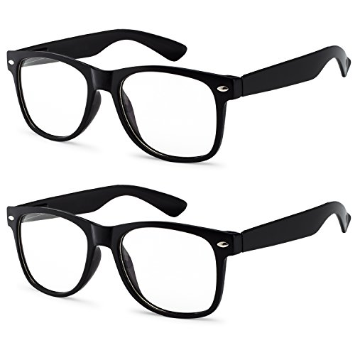 OWL - Non Prescription Glasses Clear Lens Black Frame - UV Protection (2 Pack) ()