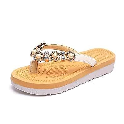 Ladies Flat Slides - Brown