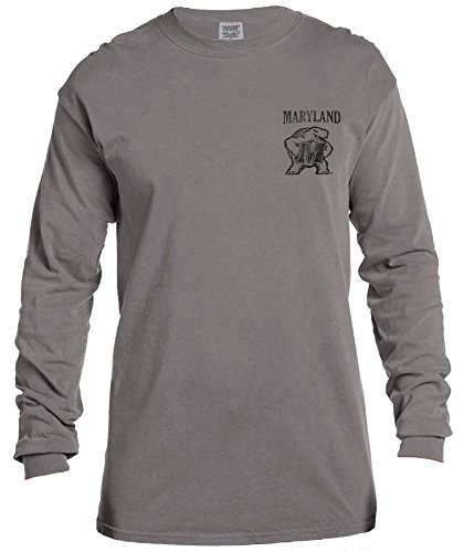 NCAA Maryland Terrapins Vintage Poster Long Sleeve Comfort Color Tee, Small,Grey