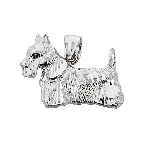 10 ct 471/1000 Or Blanc Diamant Coupe Scottish Terrier- Pendentif