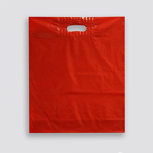 Medium Red Plastic Merchandise Bags with Reinforced Patch Handle (Case of 1,000) by Zee Green Bags