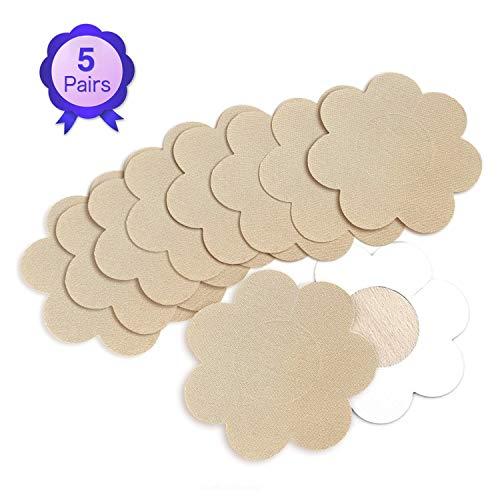 NippleCovers, Sexy Breast Pasties Adhesive Bra Nippleless Cover Disposable (5 Flower Light Khaki) (Accessories : Womens Khaki Clothing)