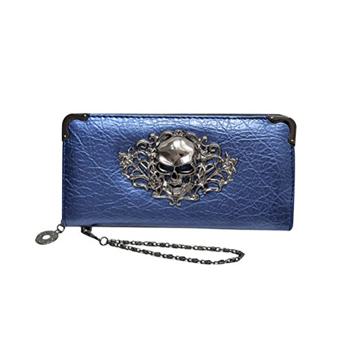 Purse Evening Purse Vintage Zipper Handbag Long Retro Long Pouches Rivet Leather Wallet Phone Abuyall Women Purse Punk Clutch Skull Pt1 Pt6 Moblie Coin Bag for AYY0q