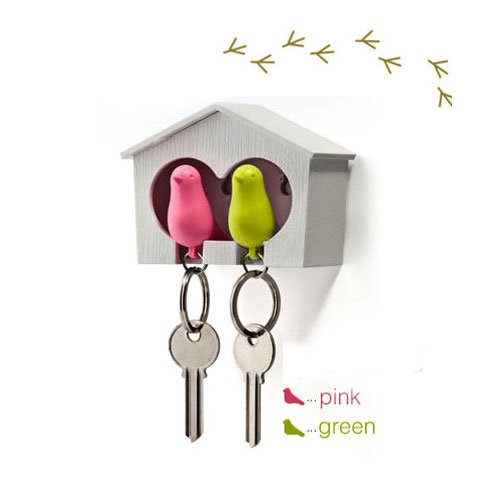 DUO Wood House Sparrow Bird Key Ring + Key Holder + Whistle - Green/Pink Bird