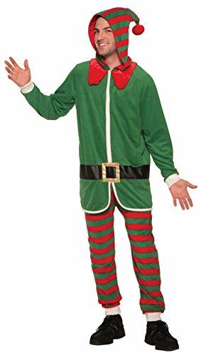 Forum Novelties Men's Elf Onesie Hooded Jumpsuit, Green/red -