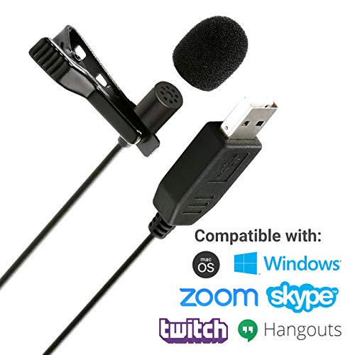 Movo M1 USB Lavalier Lapel Clip-on Omnidirectional Microphone for Laptop
