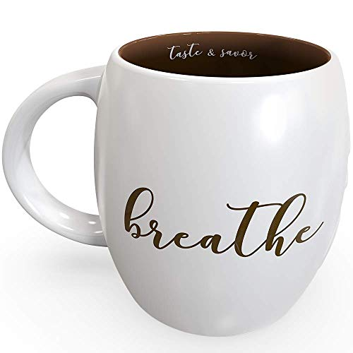 """1 x Chocolate Brown""""BREATHE"""" Mindfulness Mug by Be Here Now 