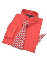 Johnnie Lene Baby Boys Long Sleeve Dress Shirt Tie Handkerchief