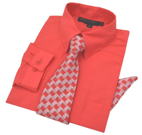 Johnnie Lene Boys Dress Shirt with Tie and Handkerchief #JL26 (6, Melon -