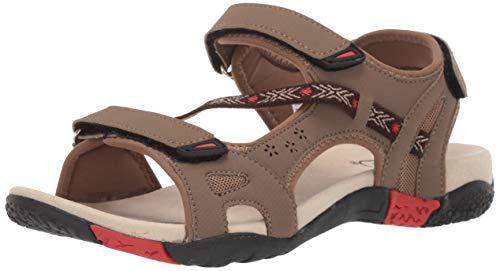 Athletic Propet Sandals (Propet Women's Elon Sandal Brown/red 7.5 2E US)