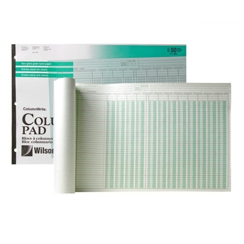 Wholesale CASE of 25 - Acco/Wilson Jones One Side Ruled Columnar Pads-Columnar Pad,12 Columns,50 Sheets,11''x16-3/8'', Green