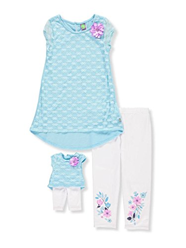 s' Hi-Lo Tunic with Legging and Matching Doll Outfit, Aqua/White, 14 ()