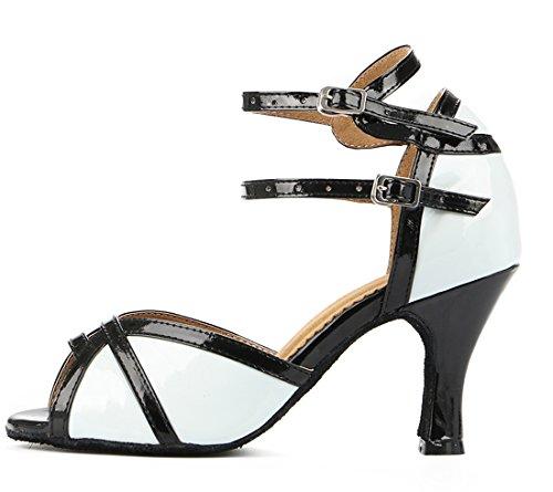 Modern Tango Wedding Women's Latin White Toe PU Peep Strap Ballroom Salsa TDA Ankle Shoes Leather Dance AxOq8dPOw