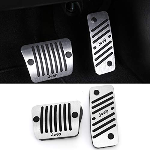 No Drill Gas Brake Pedal Compatible with Jeep Cherokee, Jaronx Aluminum Alloy Anti-slip AT Accelerator Pedal Covers Brake Pedal Pads (Compatible with:Jeep Cherokee 2014-2019)