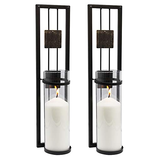 SHELVING SOLUTION Wall Sconce Candle Holder Metal Wall Decorations for Living Room, Bathroom, Dining Room, Set of 2 - Wall Sconce Metal Candle Holder