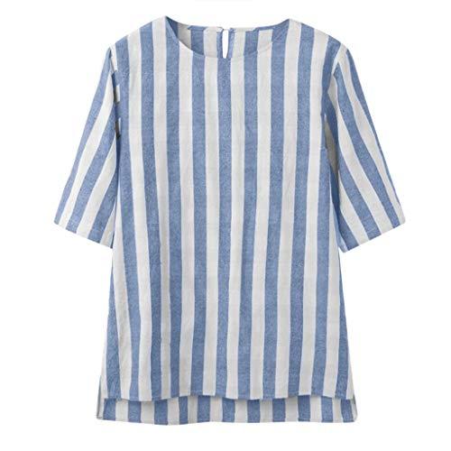 YKARITIANNA 2019 New Fashion Men's Casual Blouse Linen T-Shirt Loose O-Neck Tops Short Sleeve Tee ()