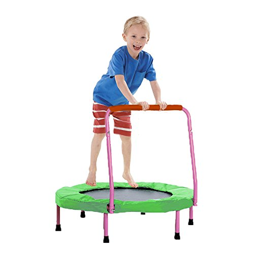 Trampoline - Fold-able Junior Jumping Trampoline with Pink Safety Handles - Christmas | Gifts | Exercise | Holiday Fun... and much more! by Toy Cubby