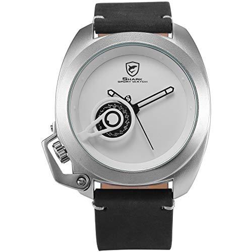 Tawny Shark Men's SH450 Tawny Tawny Shark Quartz Black Crazy Horse Leather Strap White Dial Date Display Wrist ()