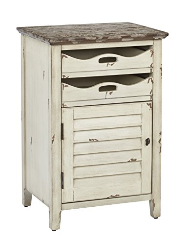 Office Star Charlotte Chair Side Table with 2 Storage Trays and Lower Storage Space, Country Cottage Finish