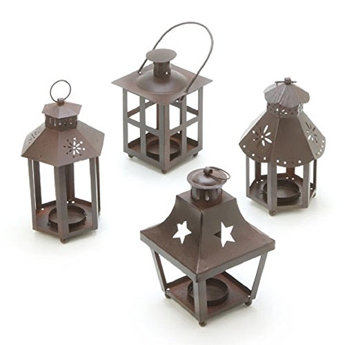 Tin Tealight Lanterns with Hangers - Set of 4 ()