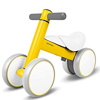 XJD Baby Balance Bikes Baby Toys for 1 Year Old Boy Girl 10-36 Months Adjustable Height Toddler Bike Infant No Pedal 4 Wheels Bicycle First Birthday Gift Children Walker, Yellow