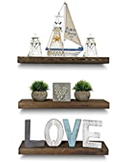 "Rustic Farmhouse 3 Tier Floating Wood Shelf - Real Hardwood Floating Wall Shelves (Set of 3), Hardware and Fasteners Included (Walnut, 20"")"