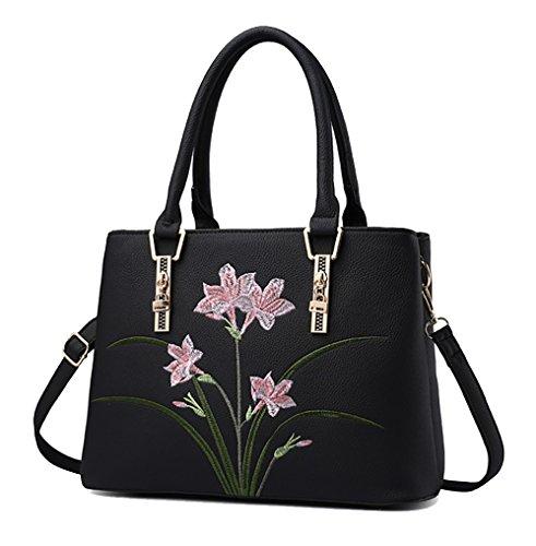 NUCLERL Designer Flower Bolso de hombro de mujer Bolso de hombro de trabajo Marrón Negro