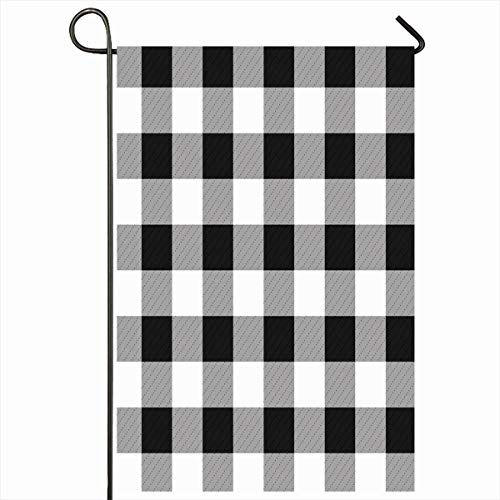 Ahawoso Outdoor Garden Flag 12x18 Inches Cube Check Gray Pattern Chess Board Black White Grid Floor Abstract Tan Antique Checker Chequer Home Decor Seasonal Double Sides House Yard Sign ()