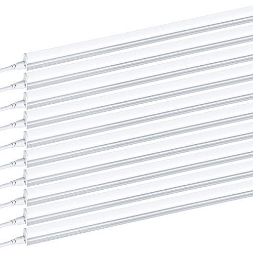 Brillihood T5 Integrated LED Single Light Fixture, 4FT, 2200lm, 6000K (Bright White) Milky Cover, 20W Utility Shop Light, Kitchen, Ceiling and Under Cabinet Light Tube with ON/Off Switch (10-Pack)