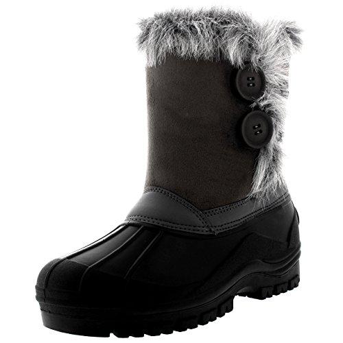 Polarr Womens Twin Button Duck Muck Rain Winter Mid Calf Boots Grey