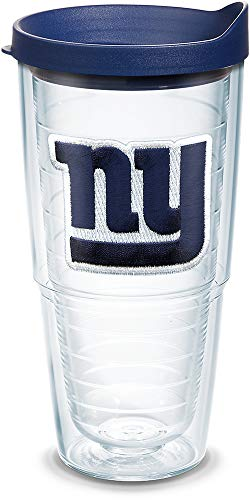 Tervis 1039084 NFL New York Giants Primary Logo Tumbler with Emblem and Navy Lid 24oz, Clear