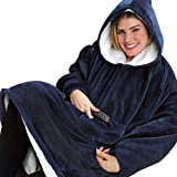 Womdee Huggle Hoodie, Super Soft Blanket Hoodie, Pullover, Bathrobe, Fleece Hooded Robe for Men & Women, One Size Fit All (Blue)