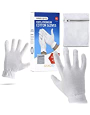 Extra Large, XL Moisturizing Gloves OverNight Bedtime Cotton Cosmetic Inspection Premium Cloth Quality Eczema Dry Sensitive Irritated Skin Spa Therapy Secure Wristband … (4 Pack)