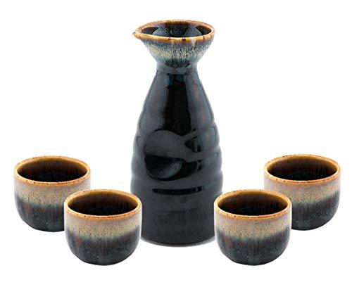 - Happy Sales HSSS-WFLBLK, Perfect 5 pc Japanese Design Ceramic Sake set, Waterfall