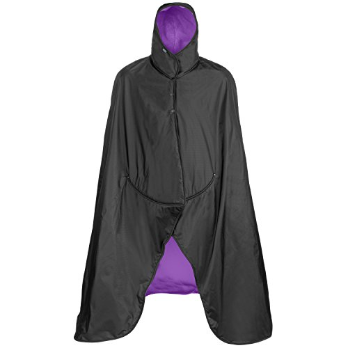 (Mambe Extreme Weather 100% Waterproof/Windproof Hooded Blanket with Premium Stuff Sack (Size: Large, Royal Plum) Made in The USA)