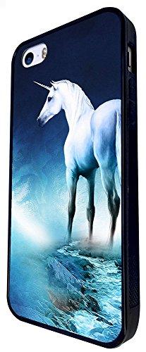 1352 - Cool Fun Trendy Cute Kawaii Nature Unicorn Horse Fantasy Whimsical (2) Design iphone SE - 2016 Coque Fashion Trend Case Coque Protection Cover plastique et métal - Noir