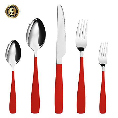 HF HOFTEN Red Silverware Set, 20 Piece Food Grade Stainless Steel Flatware Set Include Fork Spoon Knife Utensils for Daily Use and Party, Service for 4, Anti Rust, Safe in - Flatware Red Set