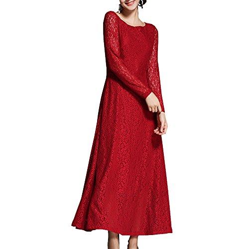 girl Reine Hohl YL31506 Partykleid Kleid E Cocktail Cocktailkleid Kleider Rot Spitze Langarm Midi Damen wFxyqdp