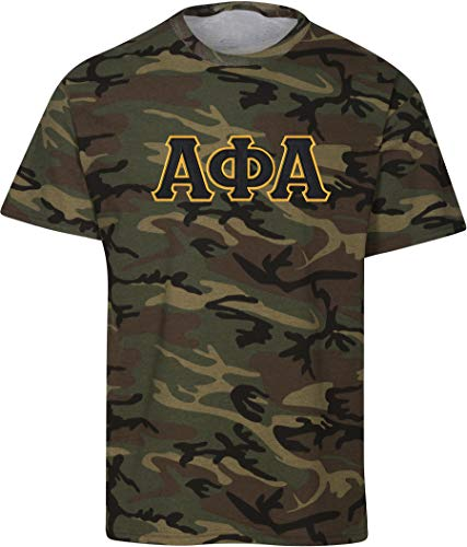 Fashion Greek Alpha Phi Alpha Embroidered Twill Camo T Shirt Camo Black Medium