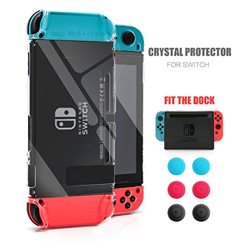 Dockable Case for Nintendo Switch, Protective Case for Nintendo Switch with a Tempered Glass Screen Protector and 6 Joy Stick Covers, Fit into The Dock Station - Clear