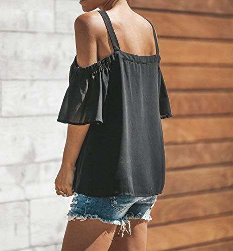 Sangle Mousseline Schwarz Femme Tops Cou Haut Uni sans Et breal Dame V Dsinvolte Manche Shirts Courtes Blouse Fashion Large Bretelles Manches Elgante CXqwKxw1dU