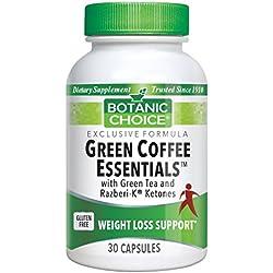 Botanic Choice Green Coffee Essentials Supplement with Green Tea and Razberi-K Ketones, 30 Capsules