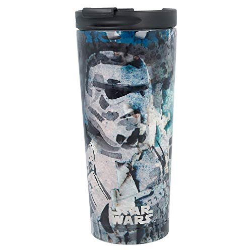 Star Wars | Termo Cafe para Llevar - Taza Termica de Viaje Acero Inoxidable 425 ml | Vaso Hermetico para Te o Cafe sin BPA con Tapa Antigoteo