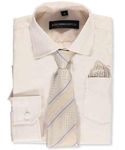 Tan Boys Shirt (Kids World Big Boys' Dress Shirt with Accessories - tan, 14)