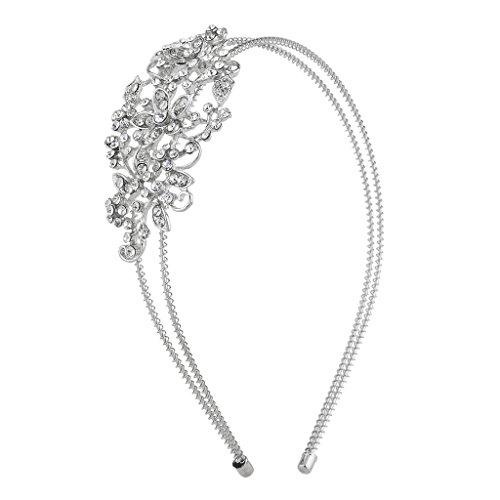 Pave Rhinestone Flower (Lux Accessories Silver Tone Crystal Pave Rhinestone Flower Coil Headband)