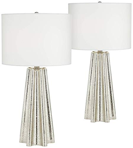 Colter Modern Table Lamps Set of 2 Fluted Mercury Glass White Drum Shade for Living Room Family Bedroom Bedside Nightstand - 360 - Lamps Base Table Fluted