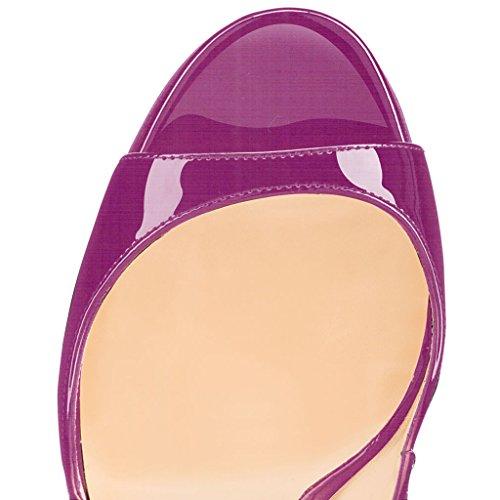 Talon Haut De Décolletés violet À Femmes Bout Ouverts Artisan Sandales A Edefs Fashion 120mm Chaussures Noir qPUwvqz