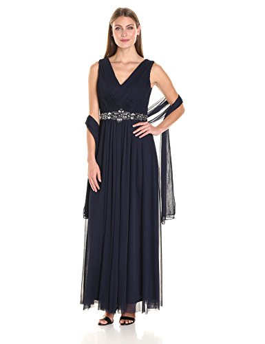 Jessica Howard Women's Basketweave Gown, Navy, (Jessica Howard Formal Dresses)